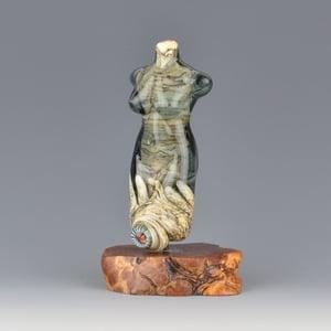 Image of XXL. Slate Blue Goddess - Lampwork Sculpture Bead