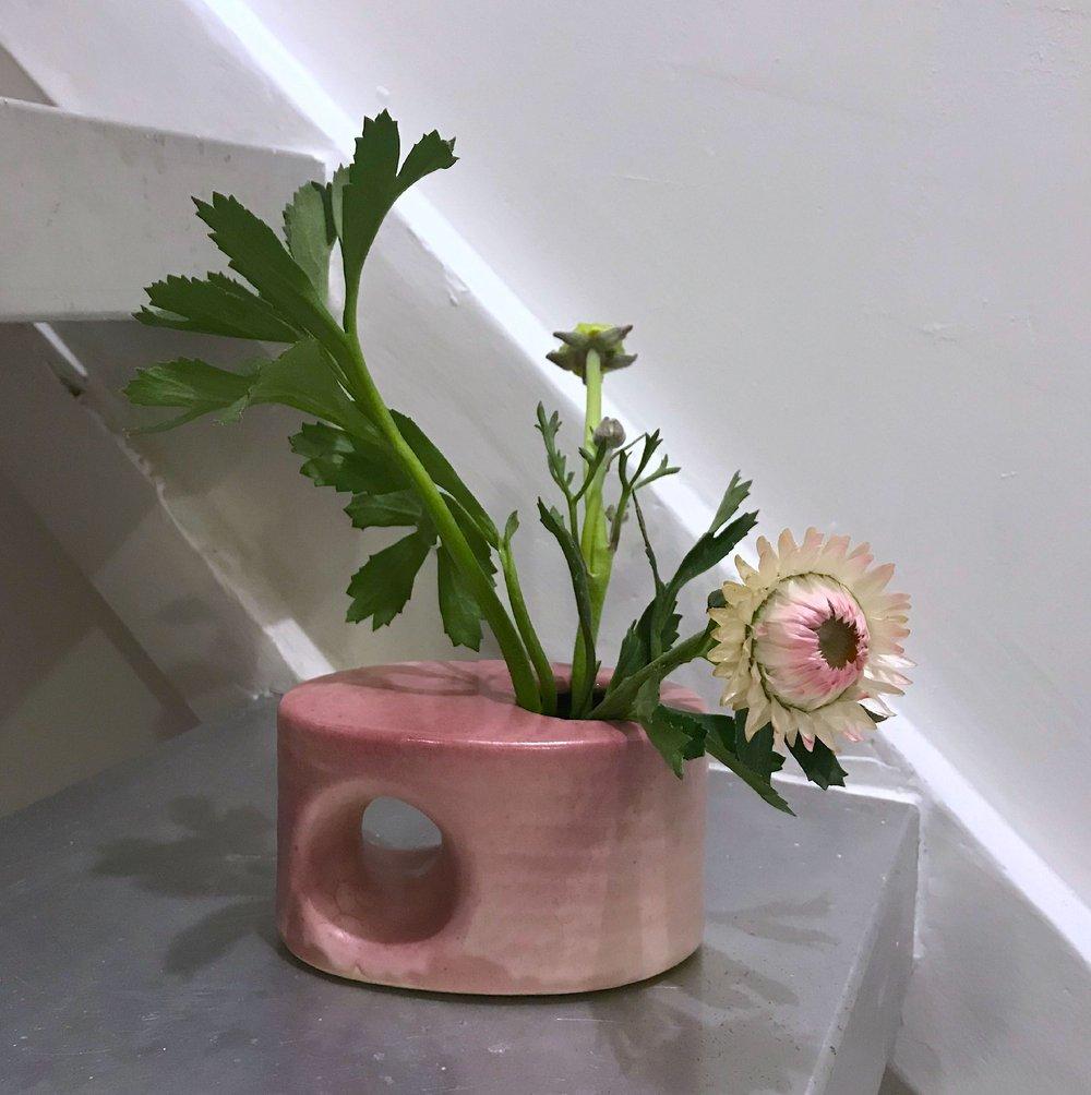 Image of Vintage Dutch 1980s pink oval block vase