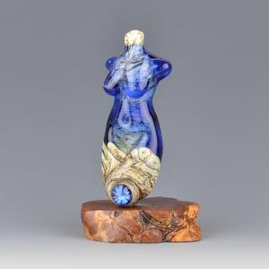 Image of XXL. Sapphire Goddess - Flamework Glass Sculpture Bead