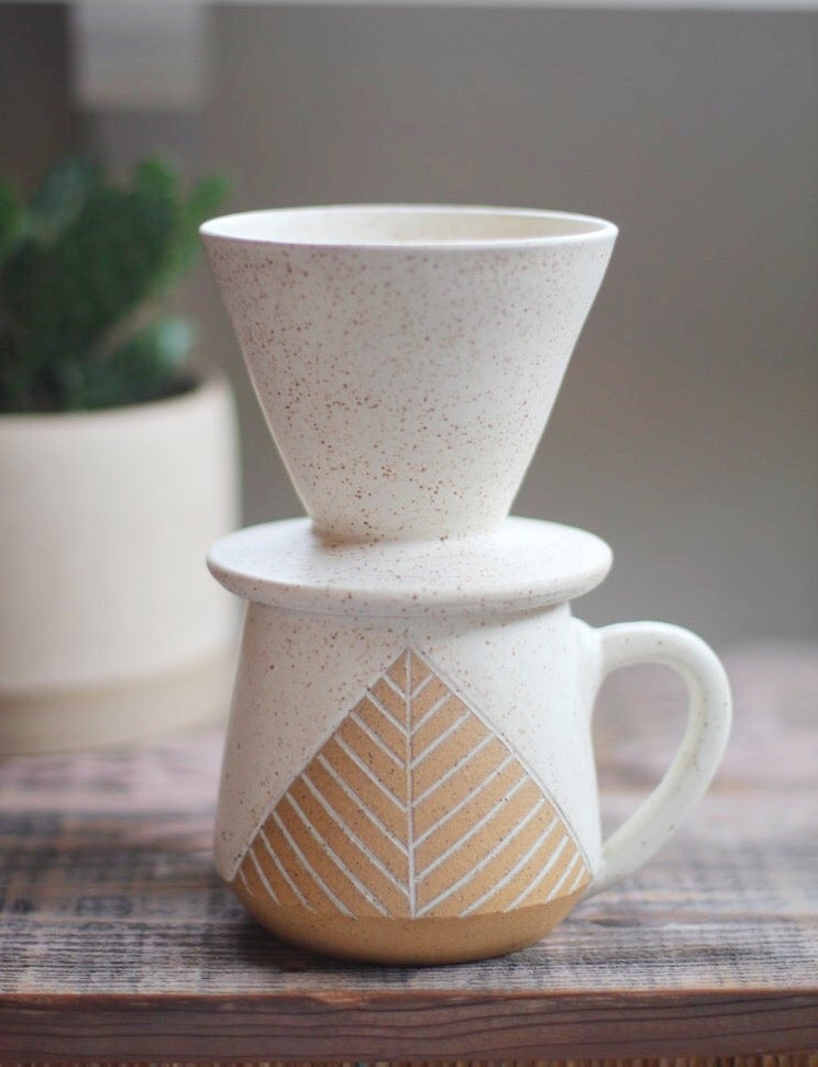 Image of White Pyramid Coffee Pour-Over Set