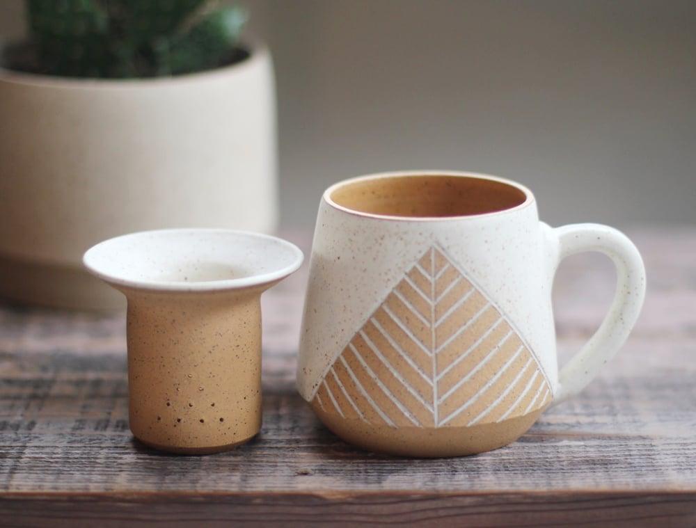 Image of Matte White Pyramid Mug & Tea Infuser Set