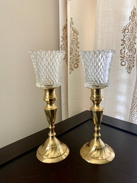 Image of Vintage  pair brass Candlestands with your choice of diamond cut votives