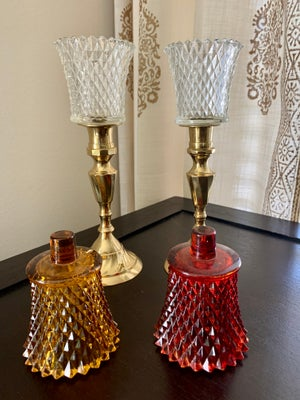 Image of Vintage  pair brass Candlestands with clear diamond cut votives