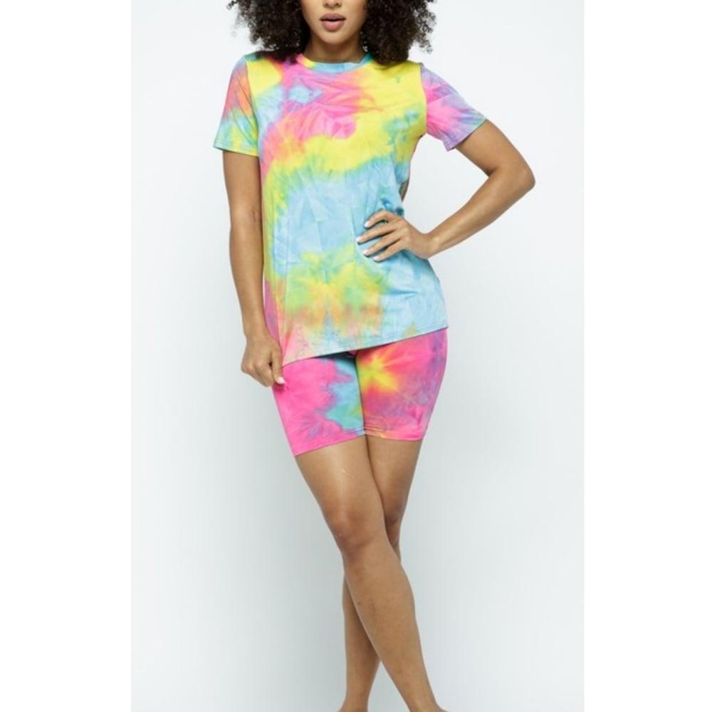 Image of Casual Biker Shorts Set (Tie-Dye Pink/Light Blue)