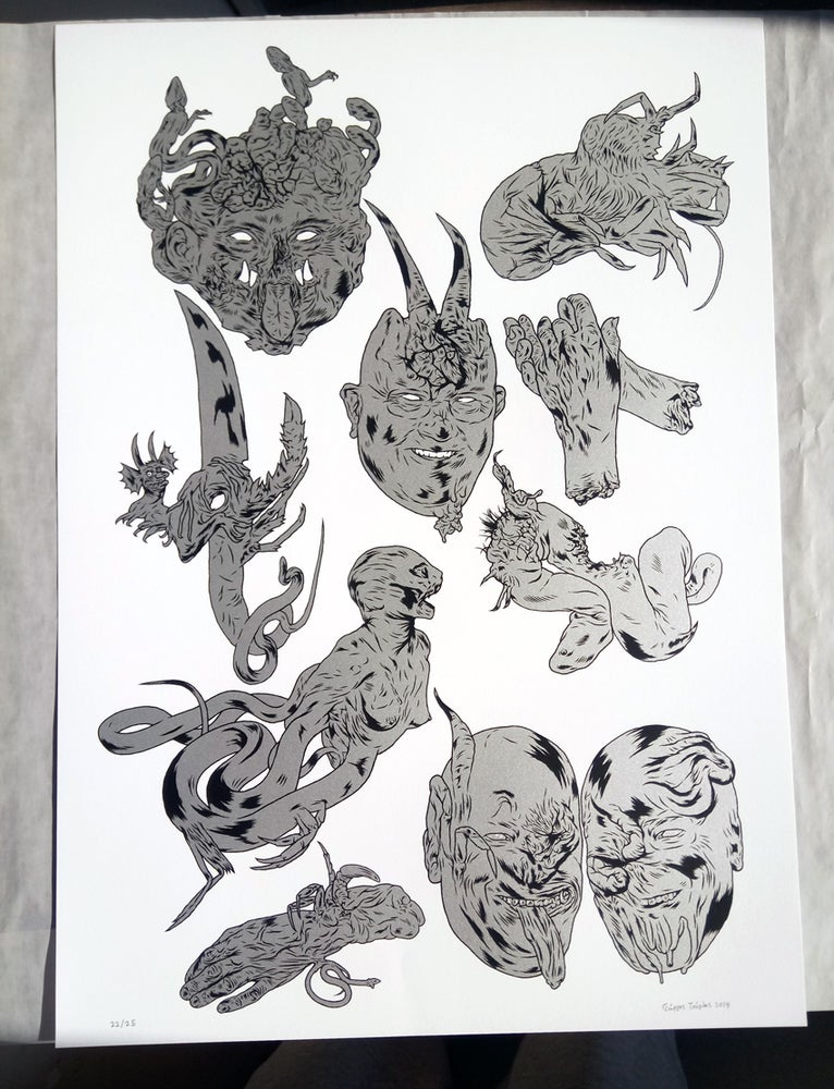 Image of medusa body parts / screen-print on paper / 2019