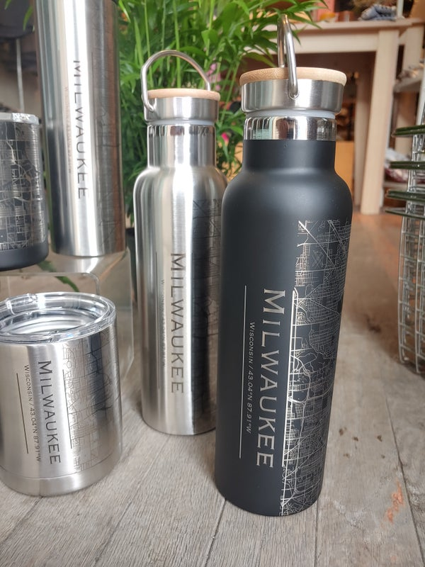 Image of Milwaukee Map Water Bottle w/ Bamboo Top