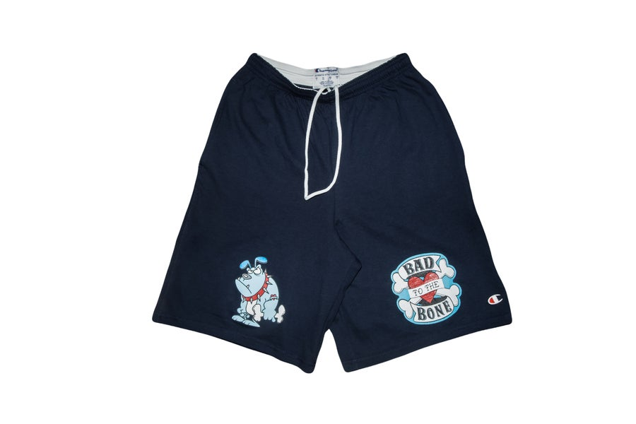 Image of Navy Blue TFG Bad to the Bone Tattoo Shorts