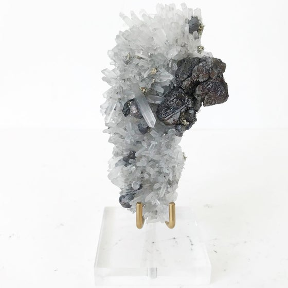 Image of Quartz/Pyrite/Galena no.05 + Lucite and Brass Stand