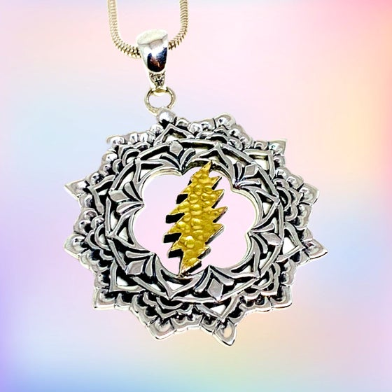 Image of Lotus Bolt Pendant with 18k Gold