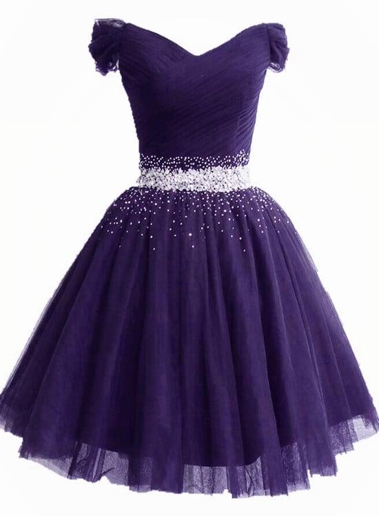 Lovely Knee Length Purple Sequins Prom Dress, Purple Homecoming Dress