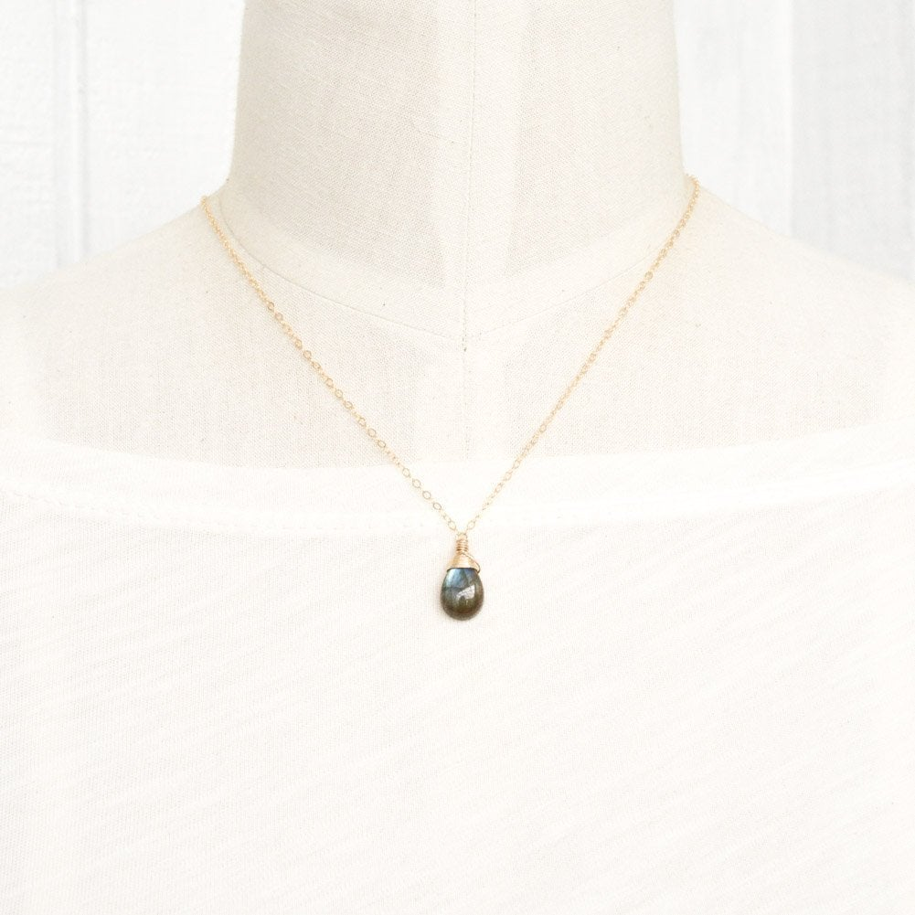 Image of Labradorite Smooth Droplet Necklace