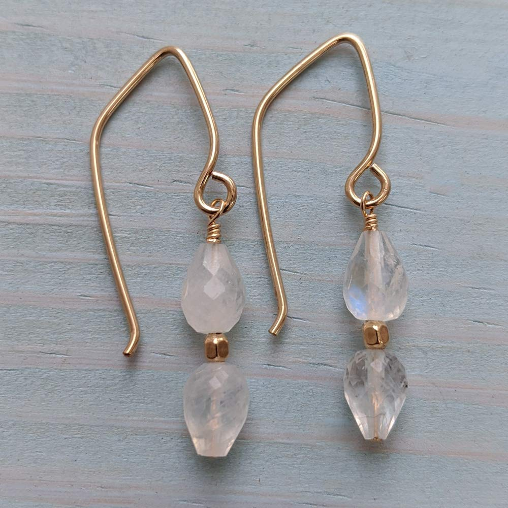 Image of Tiny Rainbow Moonstone Double Drop Earrings