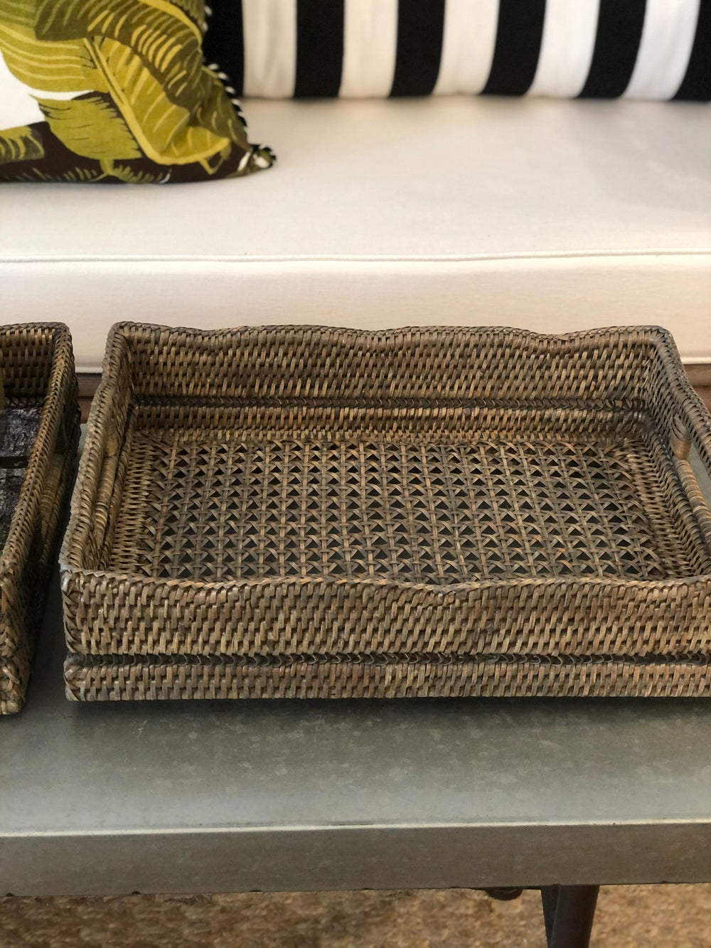 Image of Rattan Tray with Detailing in Old Grey