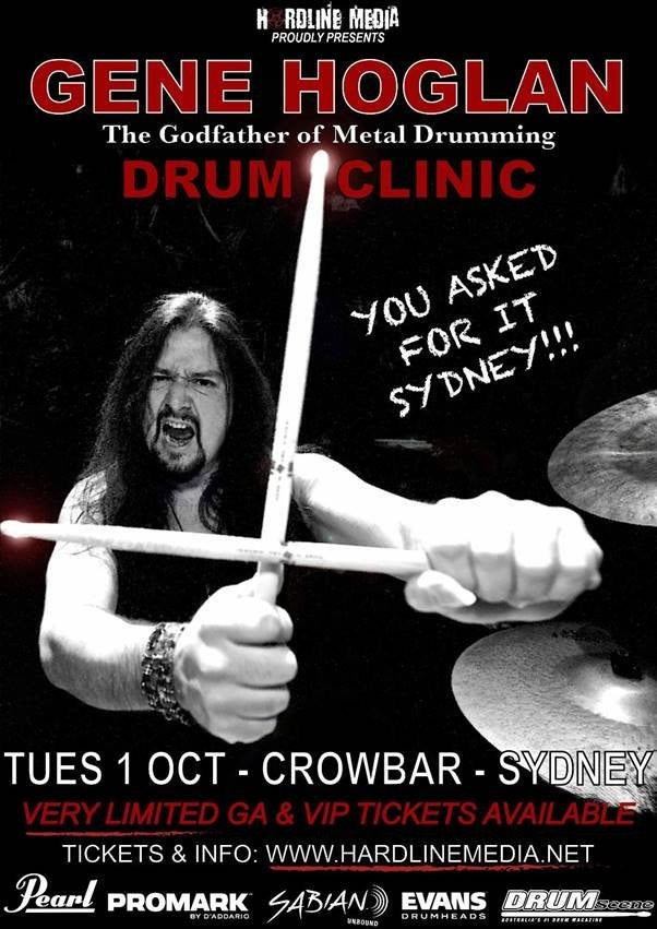 Image of POSTER (UNSIGNED) - Gene Hoglan Drum Clinic Sydney - Australian Tour 2019