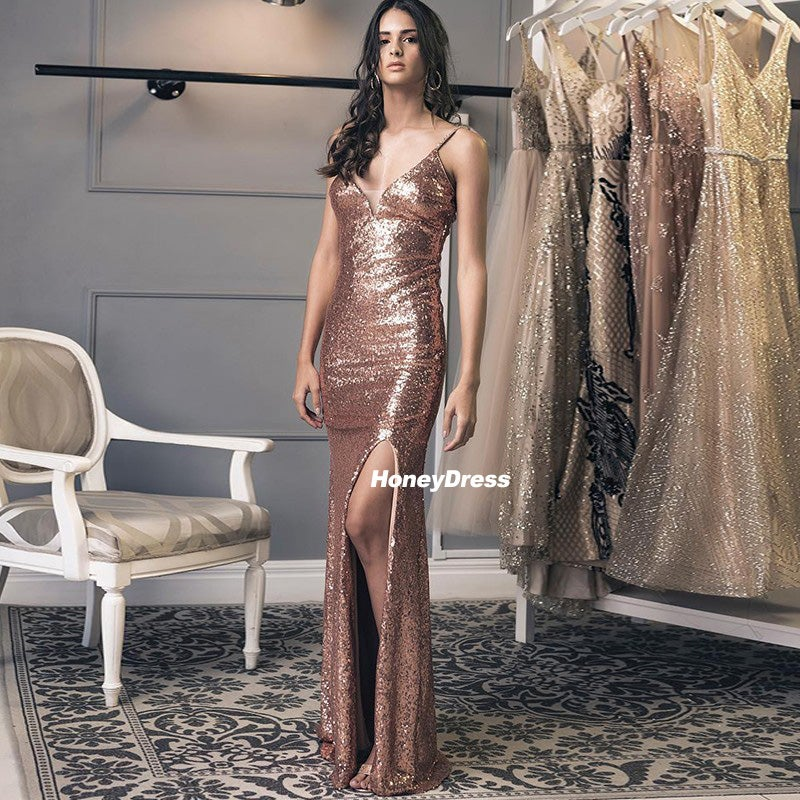 Image of Brilliant Rose Gold Sequin V-Neck Mermaid Long Prom Evening Dresses, Party Dress With Side Slit