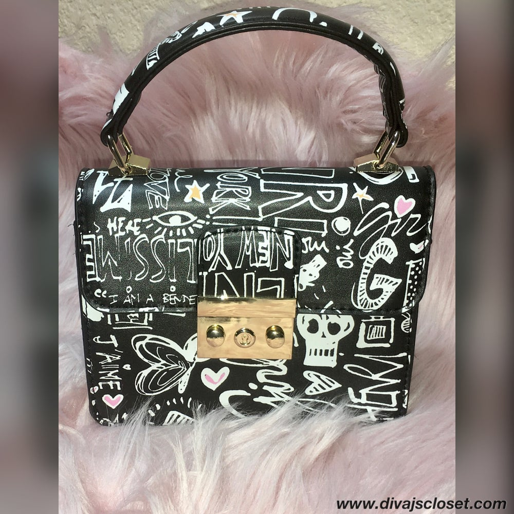 Image of Black & White Graffiti Small Handbag