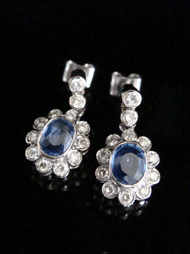 Image of MODERN 18CT WHITE GOLD SAPPHIRE 1.20CT AND DIAMOND 0.80CT CLUSTER DROP EARRINGS