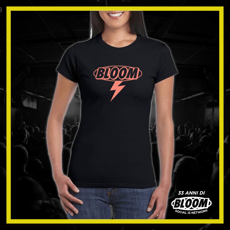 T-Shirt Fulmine Nera logo Salmone DONNA