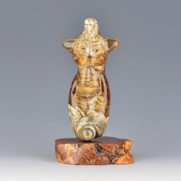 Image of XXL. Amber Peach Goddess - Flamework Glass Sculpture Bead