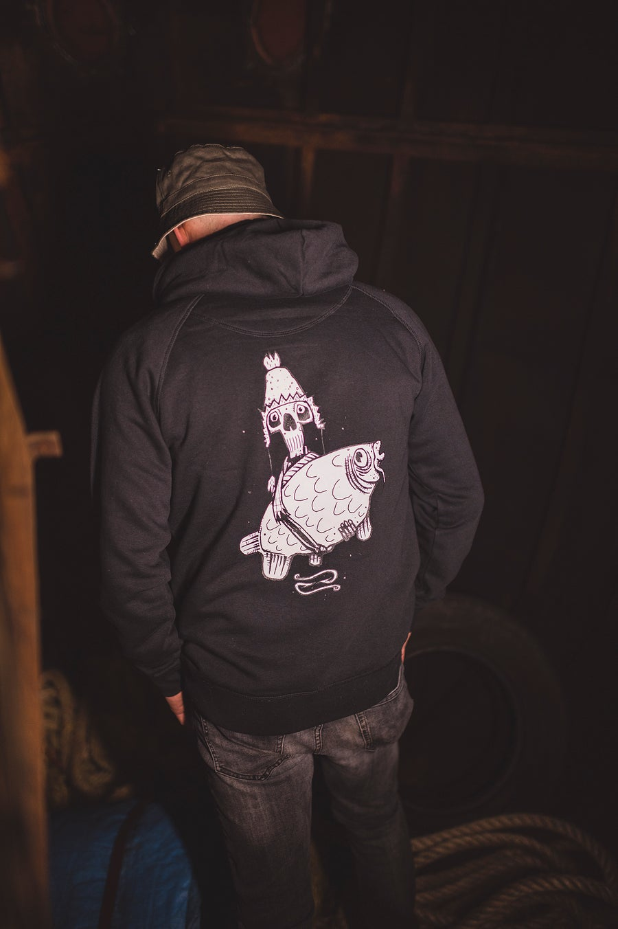Image of Monkey Climber Skellington hoodie I Black - Burgundy