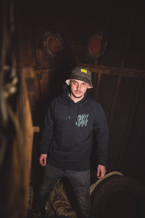 Image of Monkey Climber Skellington hoodie I Black - Burgundy