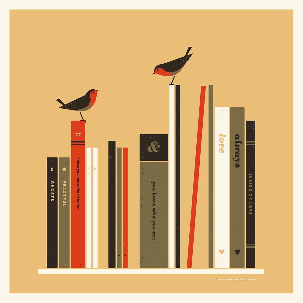 Image of Books & Birds Artprint