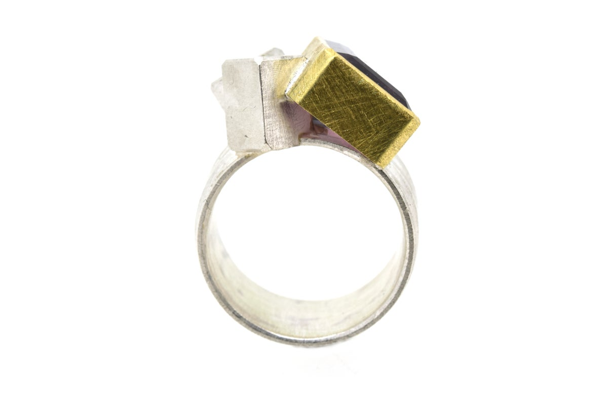 Cube cluster ring 18ct gold and sterling silver set with a Multicoloured Tourmaline