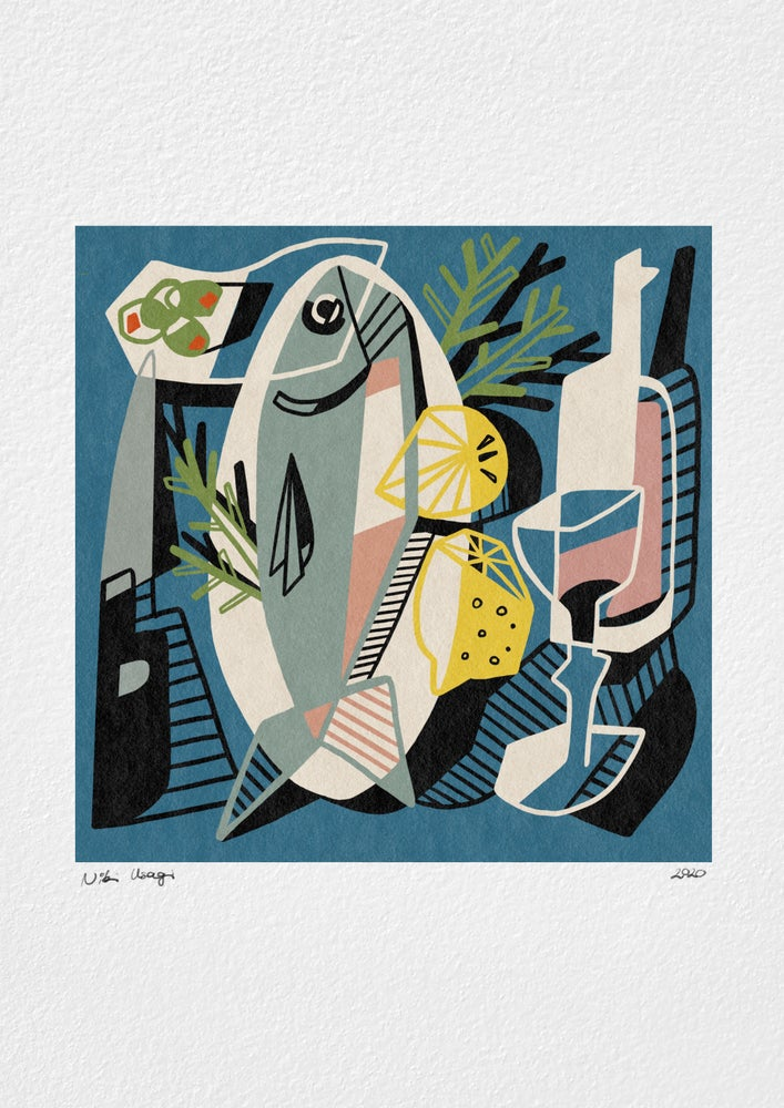 Image of 'Fish for Dinner' print