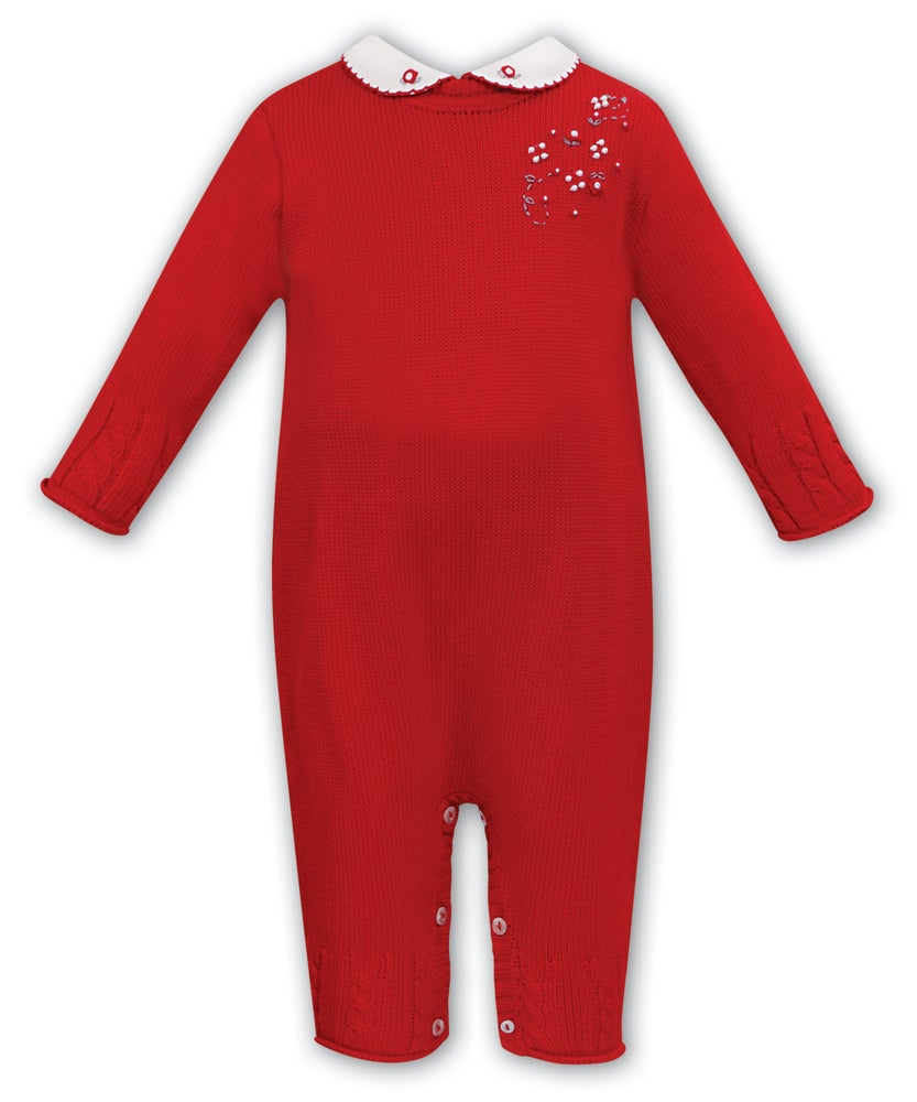 Image of Sarah Louise Knitted Red Romper