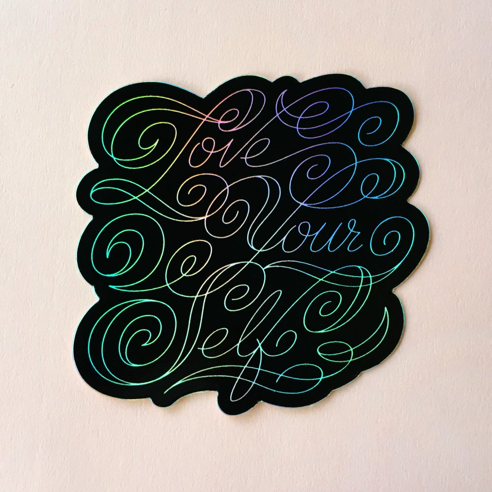 Image of Love Yourself Sticker (Holographic)