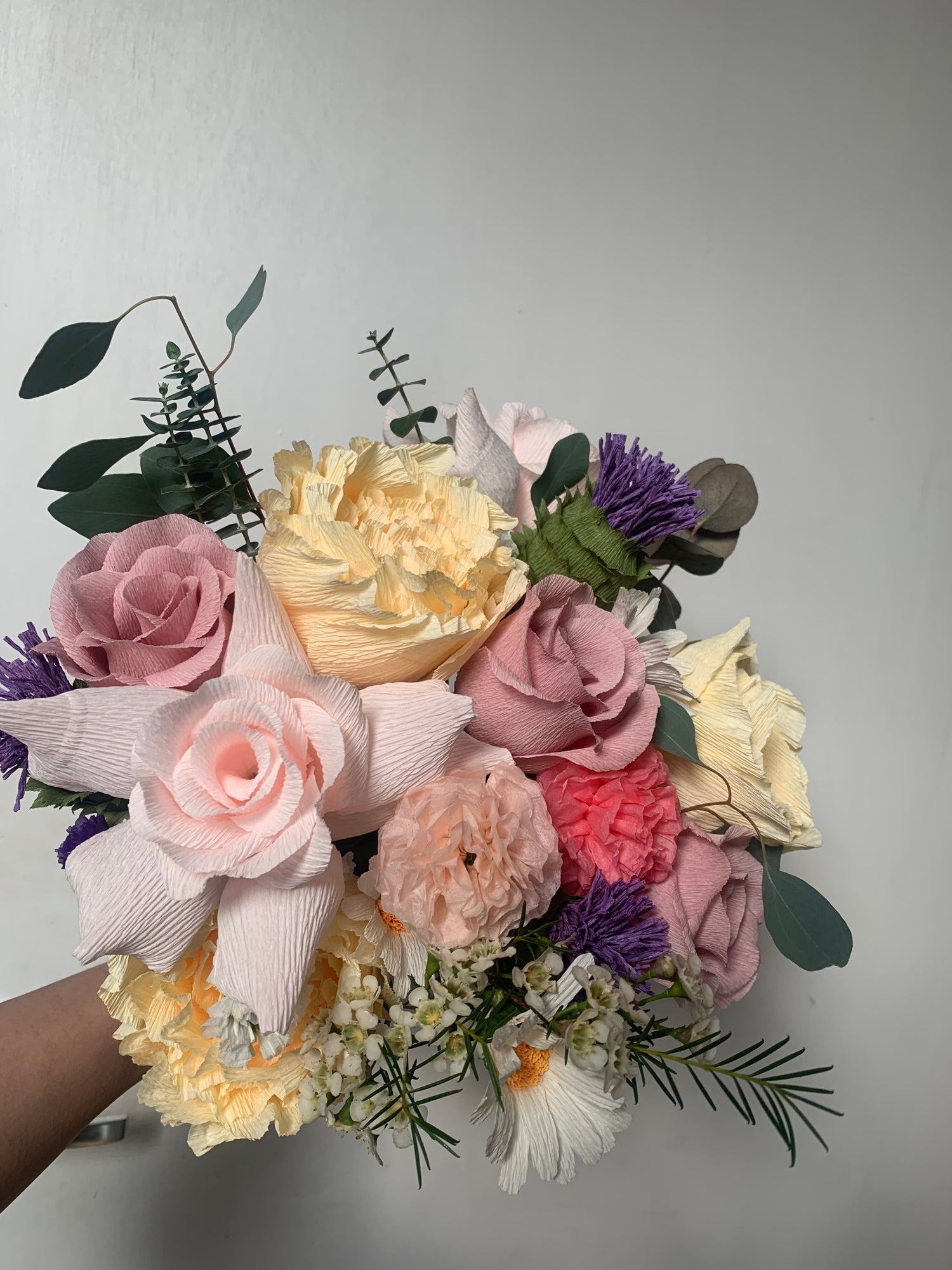 Image of Spring Bouquet - Daisies, Roses, Peonies, Pom Pom & Thistle