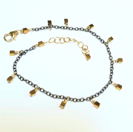 Image of Mix-metal Golden Hematine Cube Bracelet