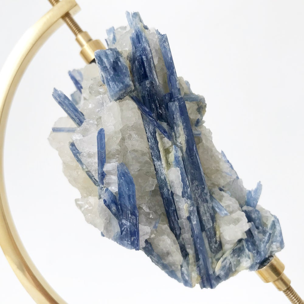 Image of Blue Kyanite no.70 + Brass Arc Stand