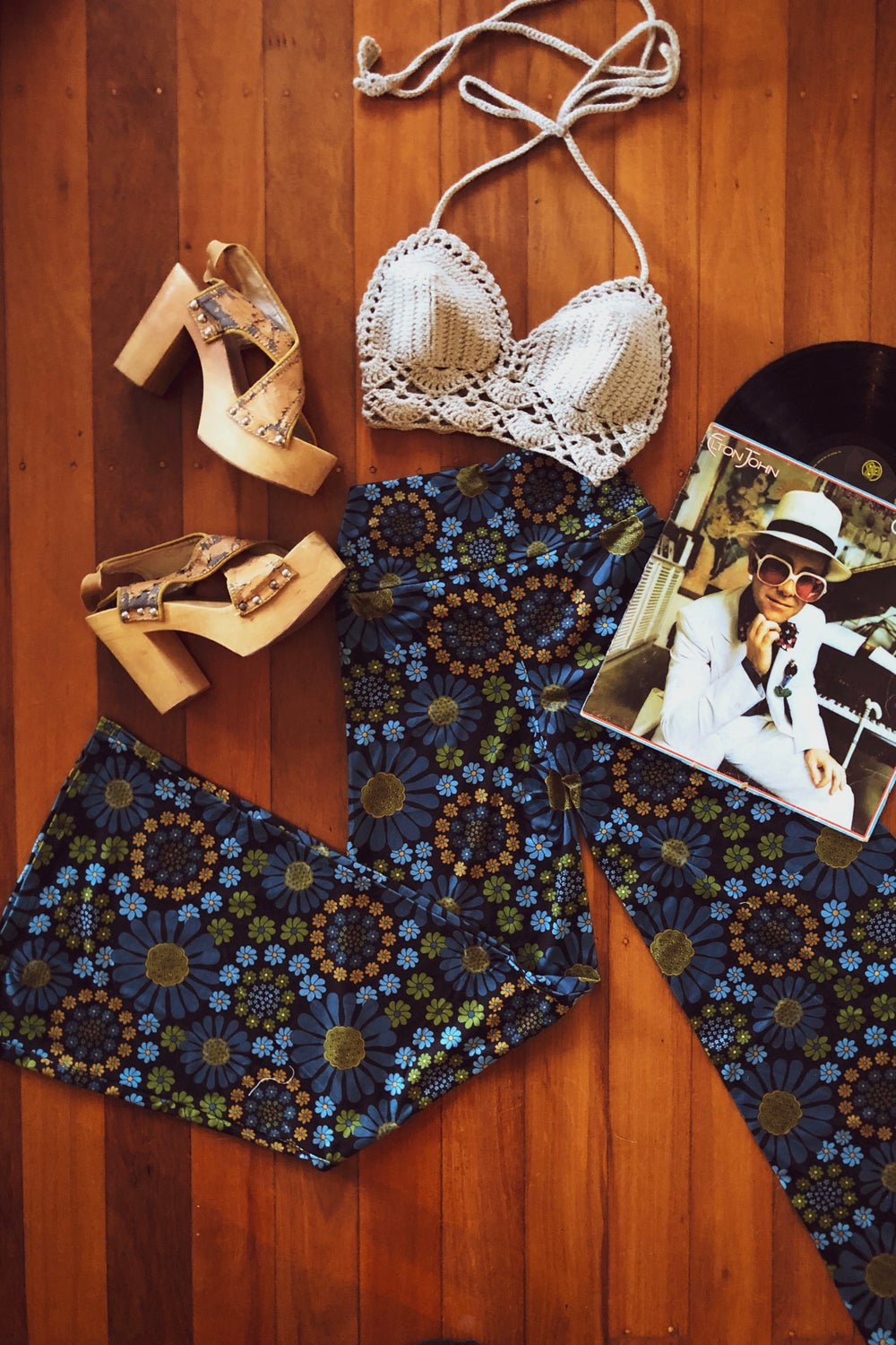 Right on flares in Crazy Daisy blue