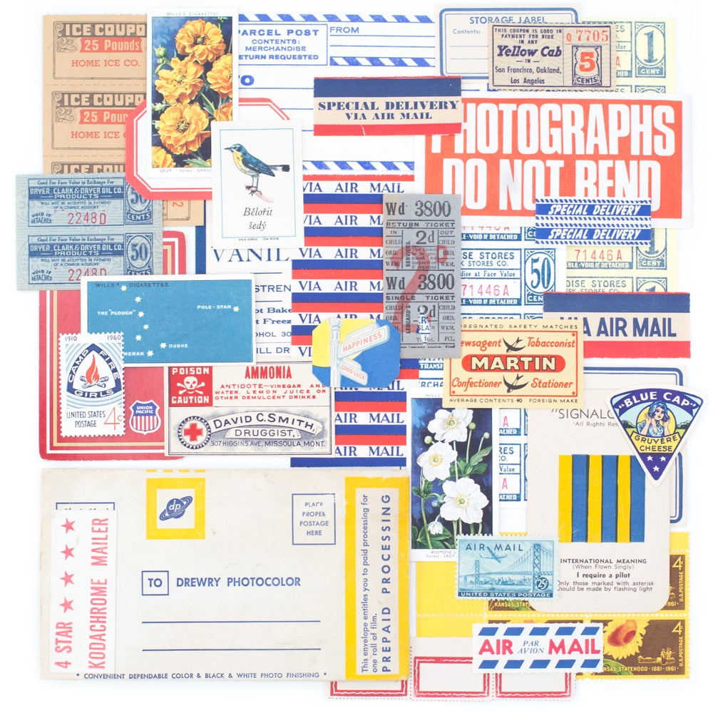 Image of Film Envelope with Red, Blue, & Yellow Ephemera