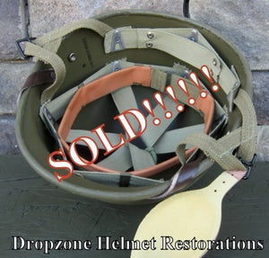 Image of WWII Repro Hawley M2 Airborne Helmet Liner. HBT Webbing Paratrooper (A)