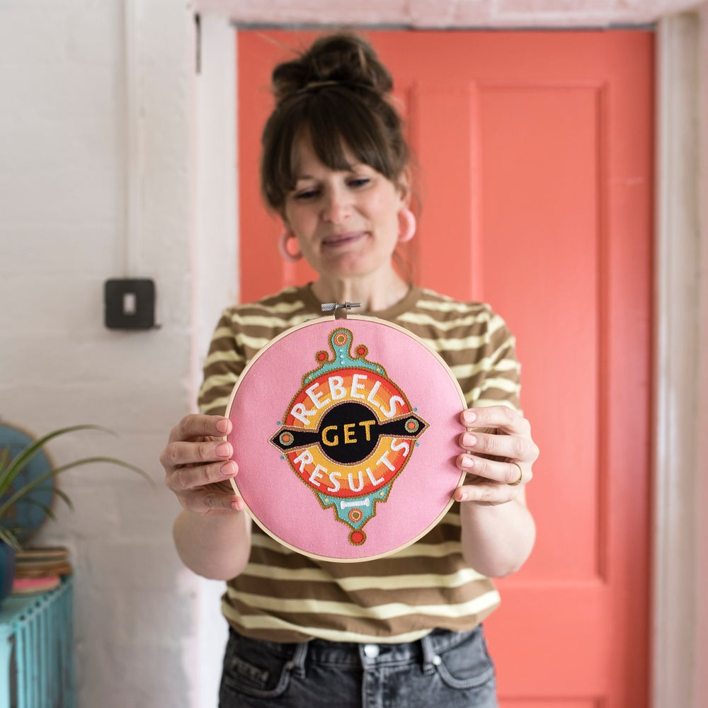 Image of Cotton Clara x Rebecca Strickson: Rebels Get Results Embroidery Hoop Kit