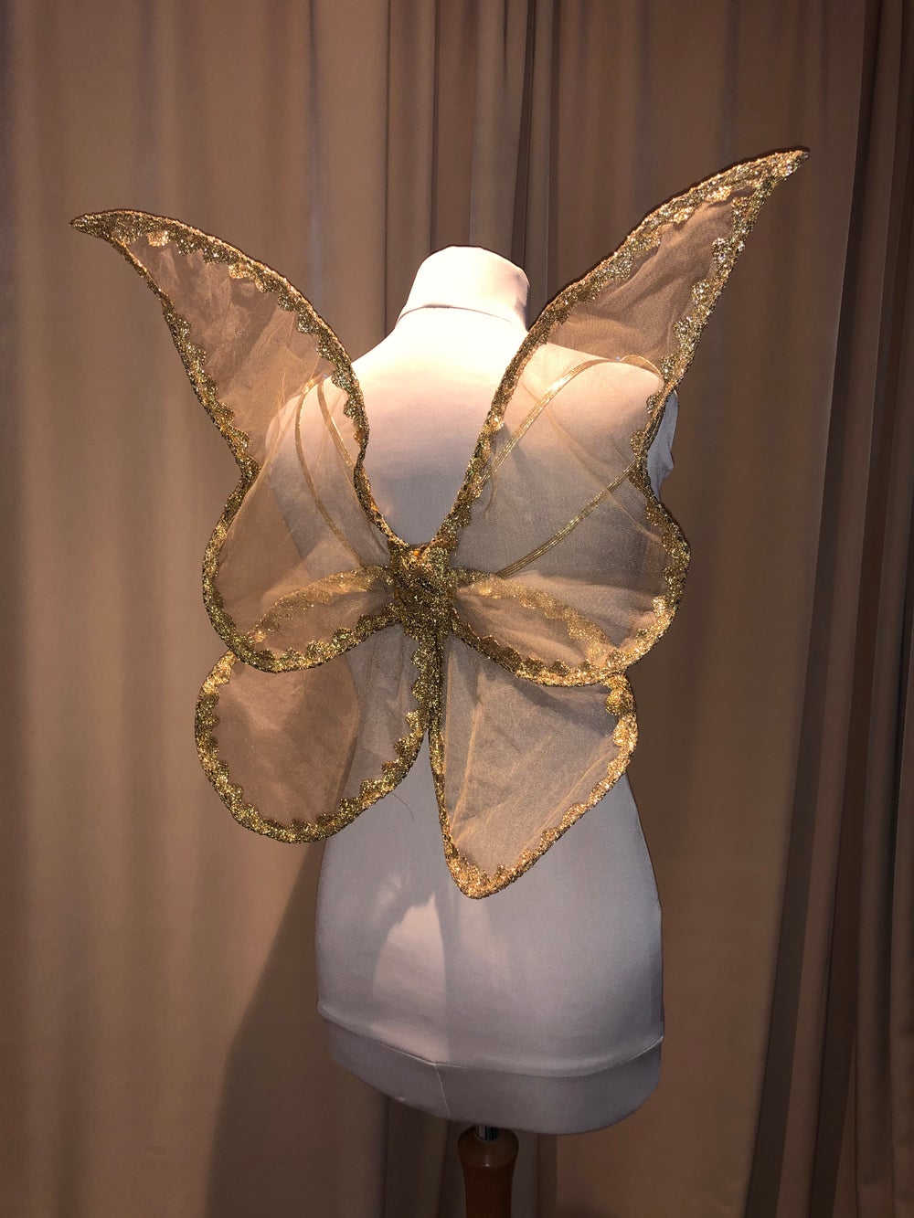 Image of Gold Adult Butterfly Pixie Wings Large