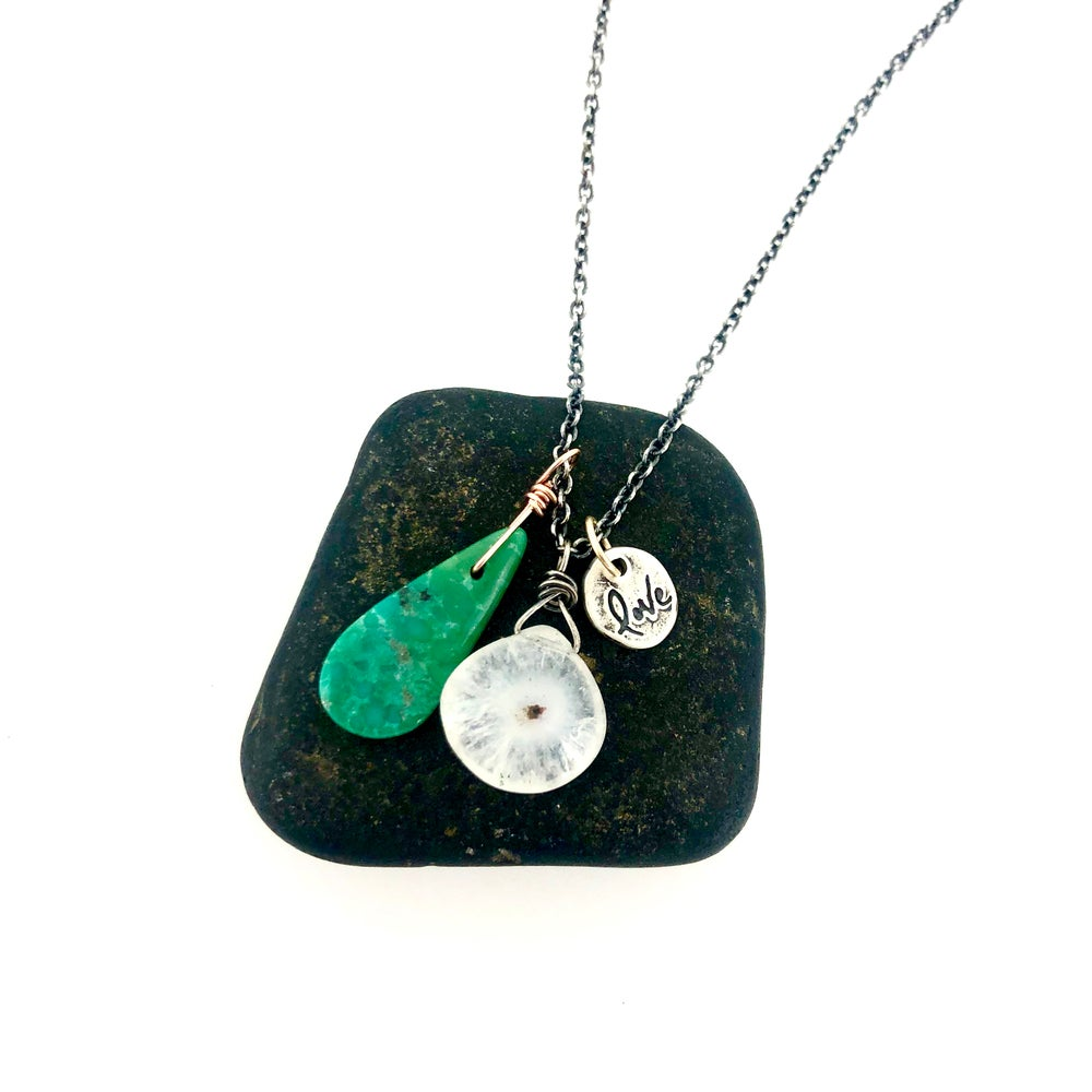 Image of solar quartz and turquoise charm necklace