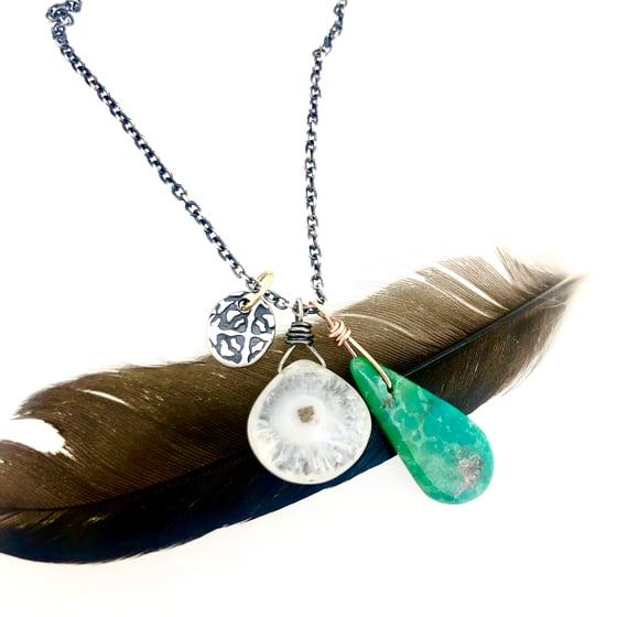 Image of solar quartz and turquoise charm necklace