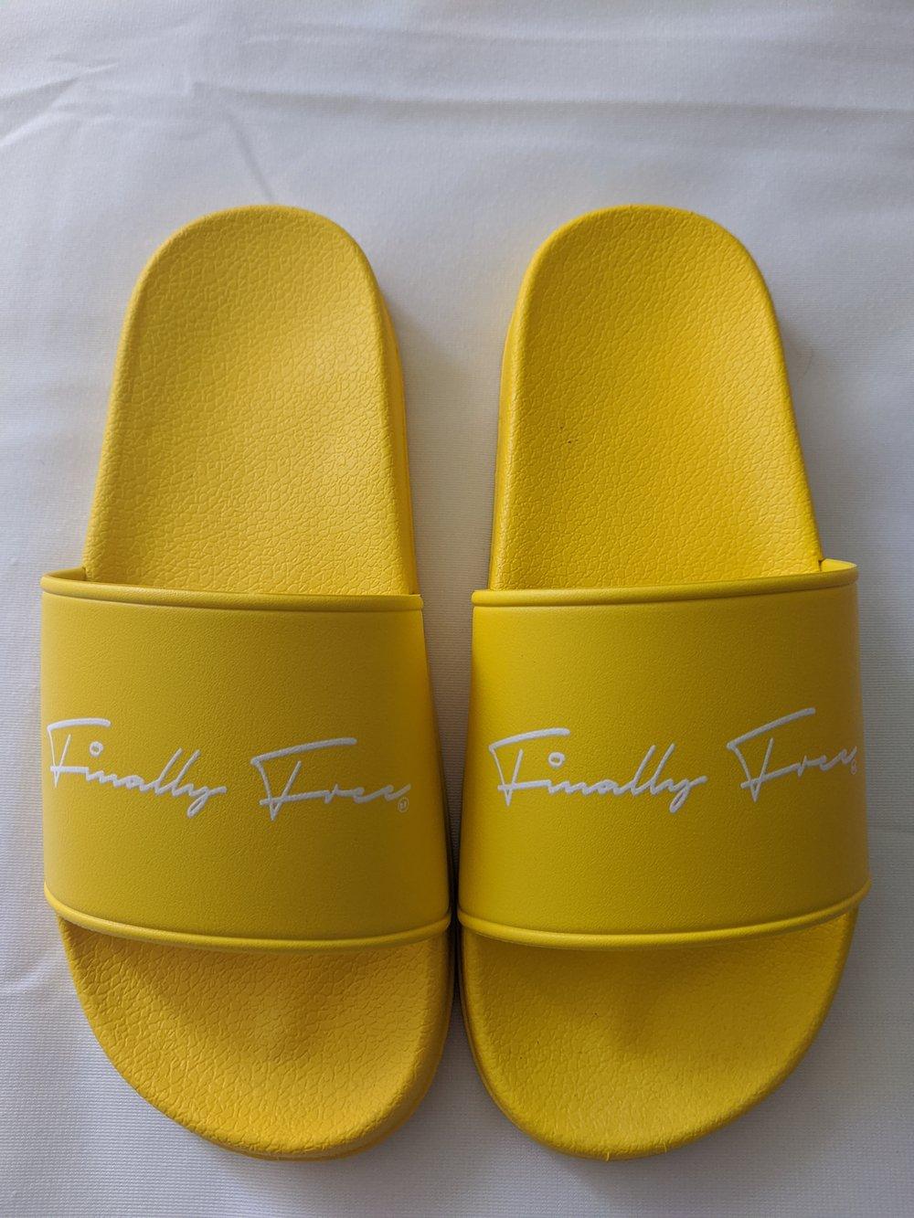 "Image of Yellow ""Finally Free"" slides"