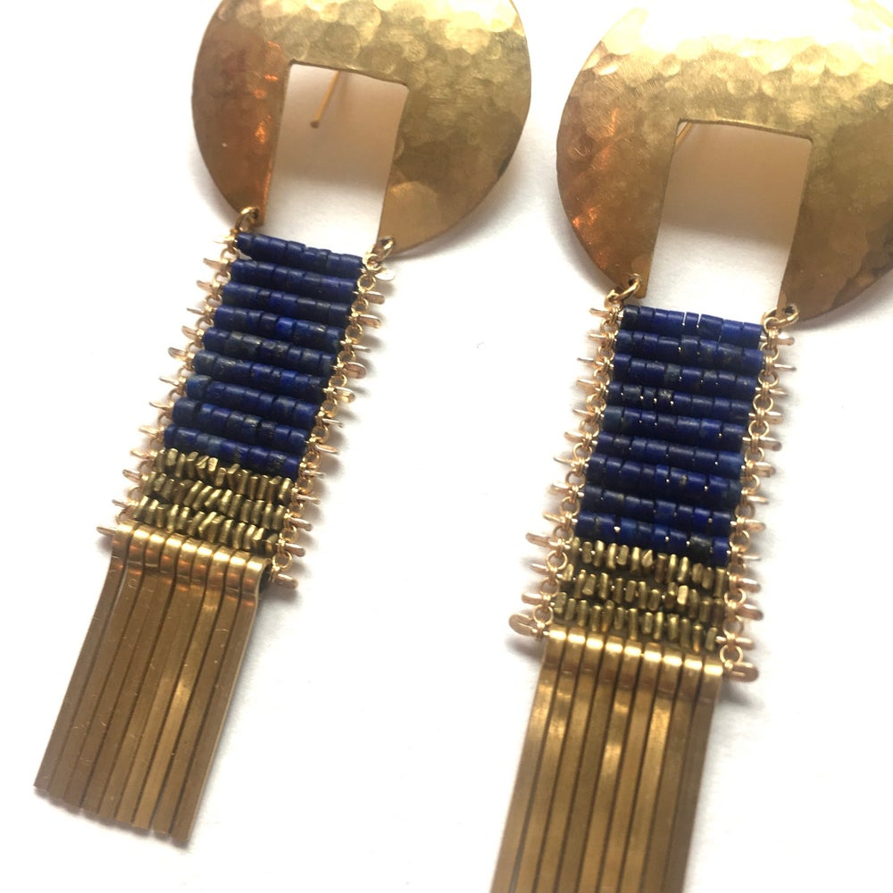 Image of Orbis Earrings in Lapis and Gold