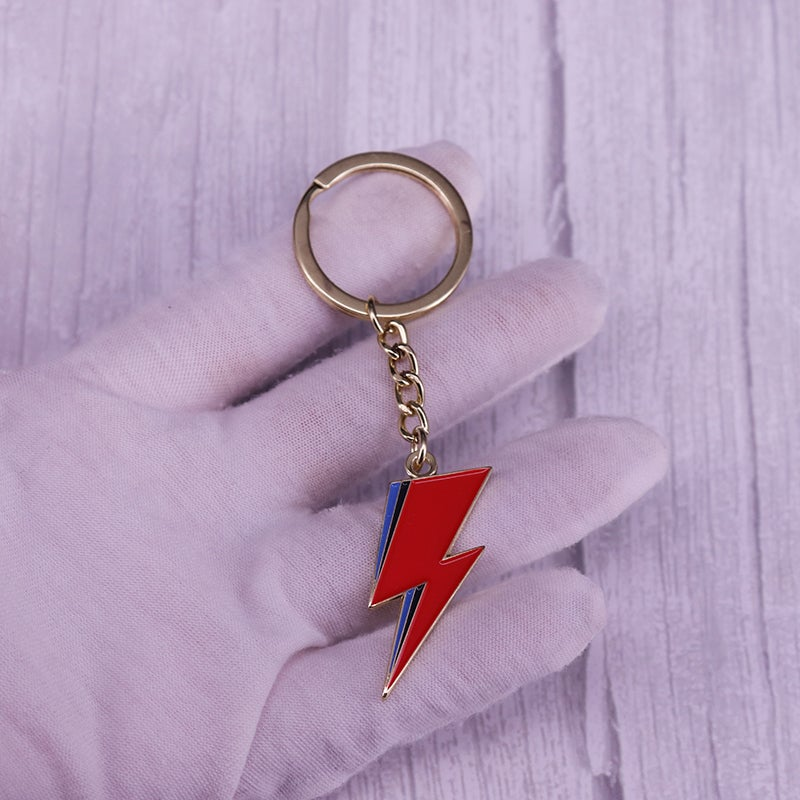 Lightning Bolt Keyring + Badge Set