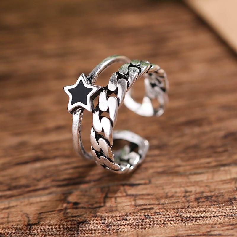 Retro Blackstar Ring (925 Silver)