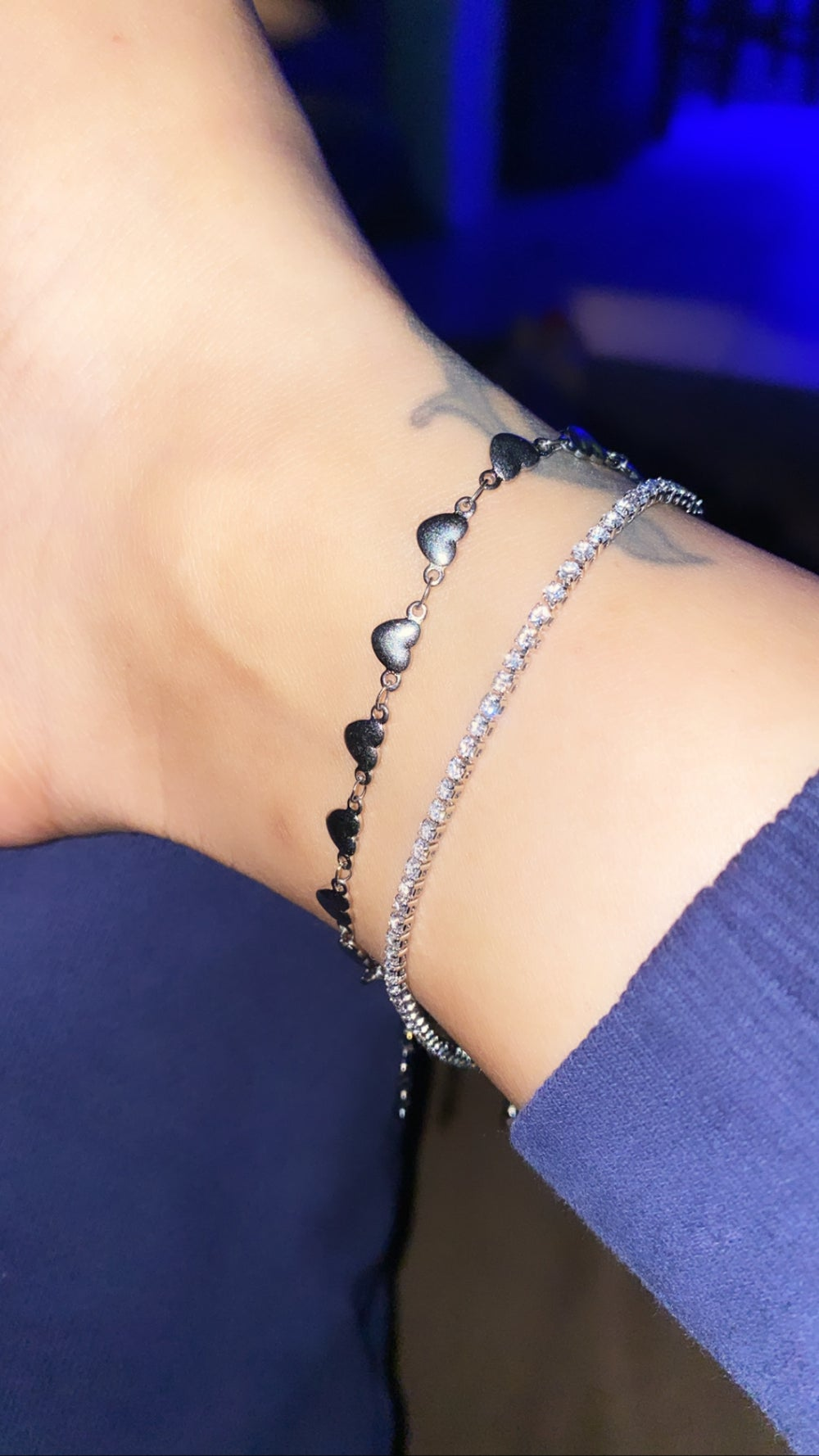 Image of HEARTS STAINLESS STEEL ANKLET