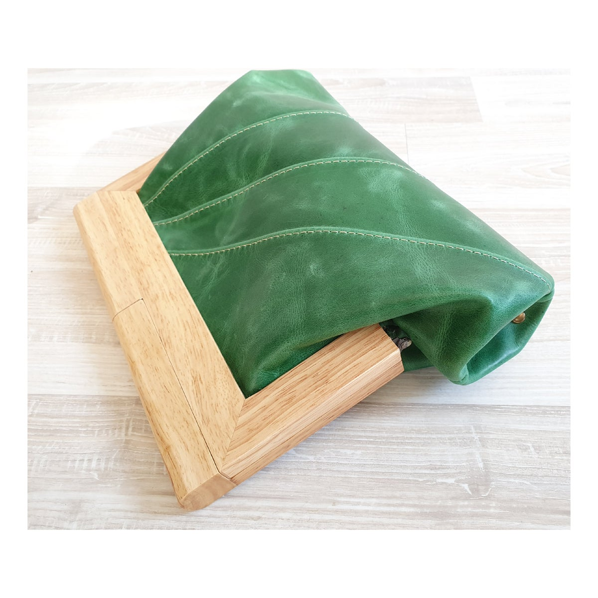 Emerald Green leather & Timber clutch