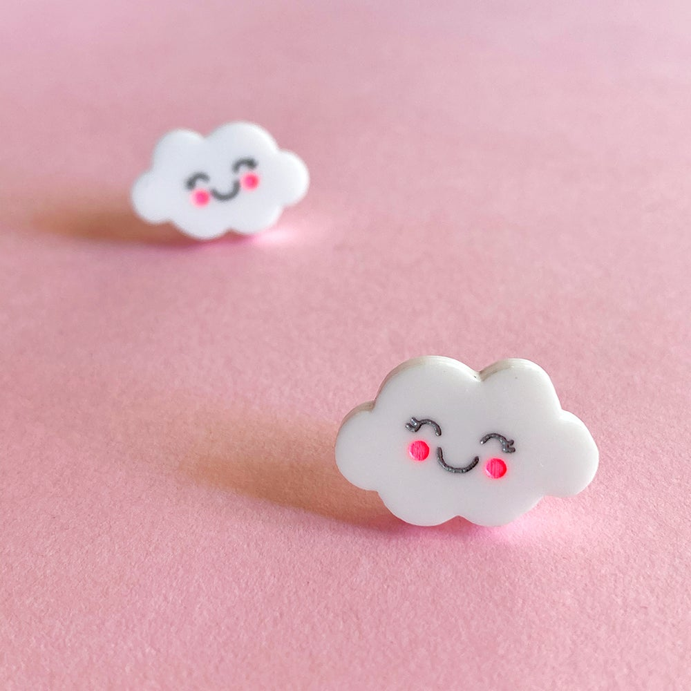 Image of Kawaii Cloud Mini Studs (Gloss White)