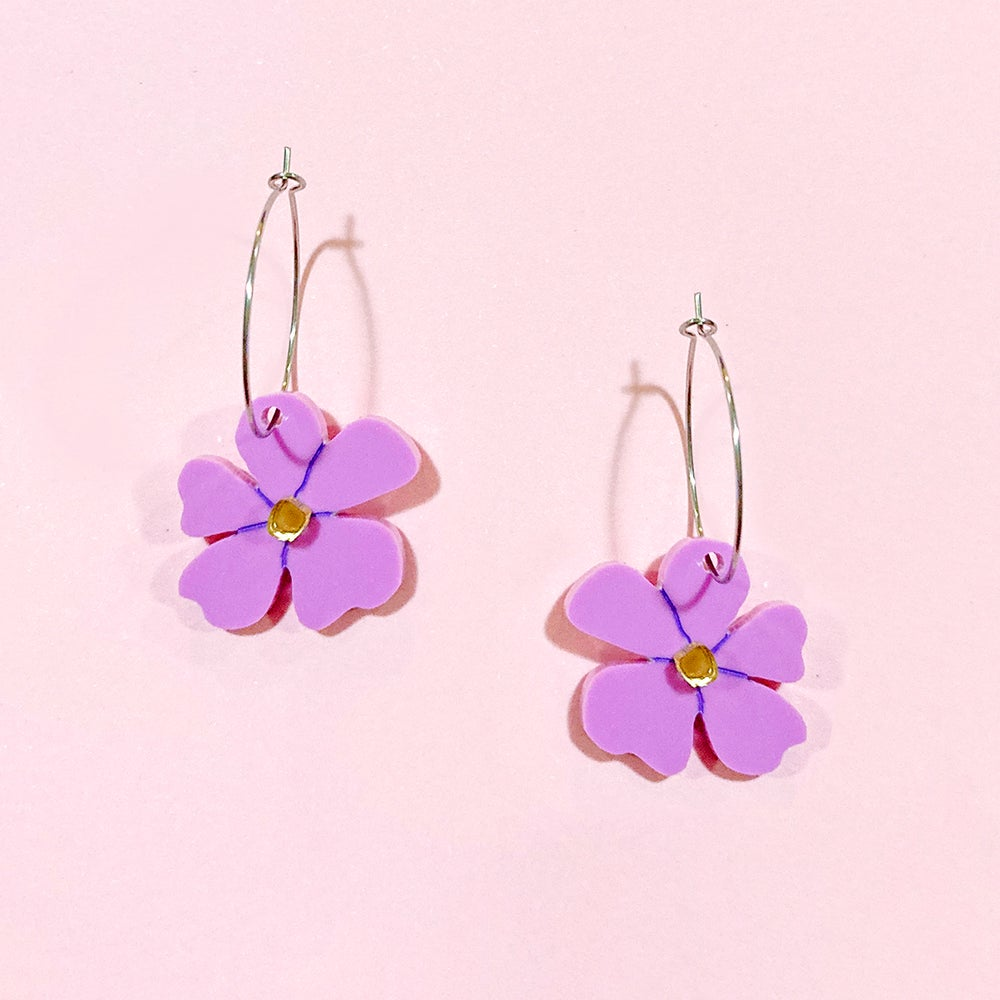 Image of Mini Blossom Hoops (Lilac/Gold)