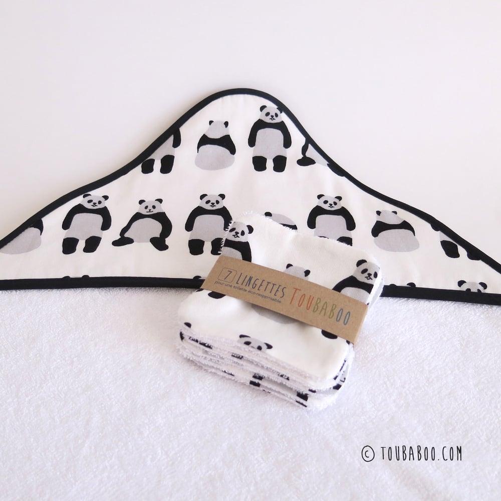 Image of Ensemble panda cape de bain + lingettes (ou à l'unité)