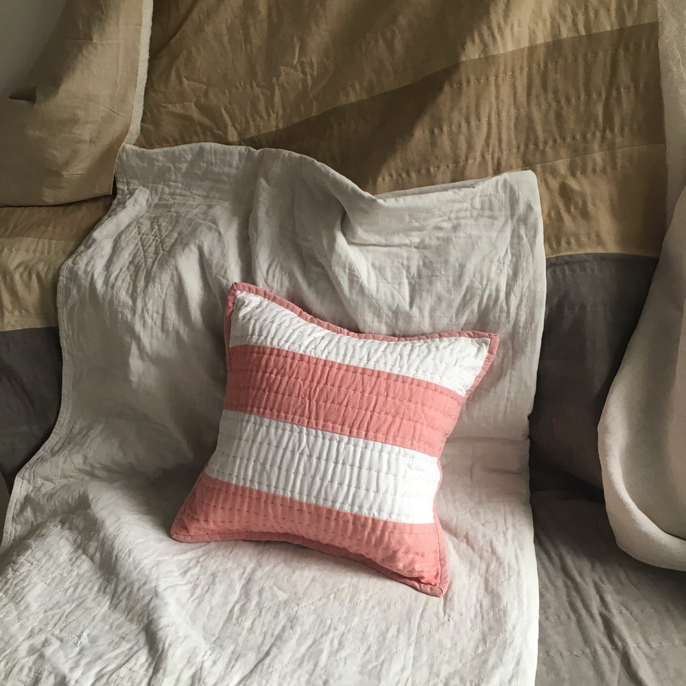 Image of Madder & Acorn quilted cushion